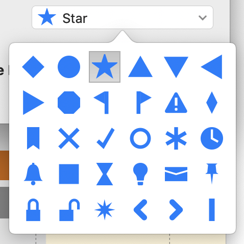 Screenshot of shape picker from TimeStory 2.0